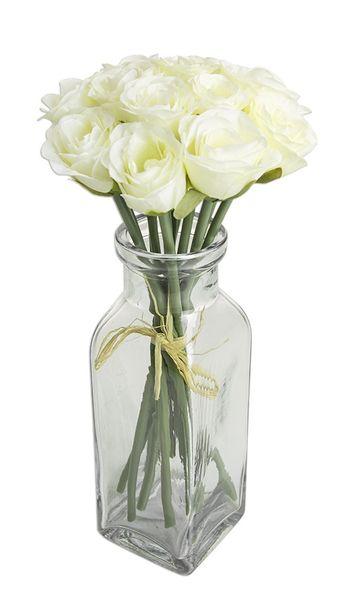Róże Białe Bukiet Duży Sztuczne Kwiaty Piękny Arenapl