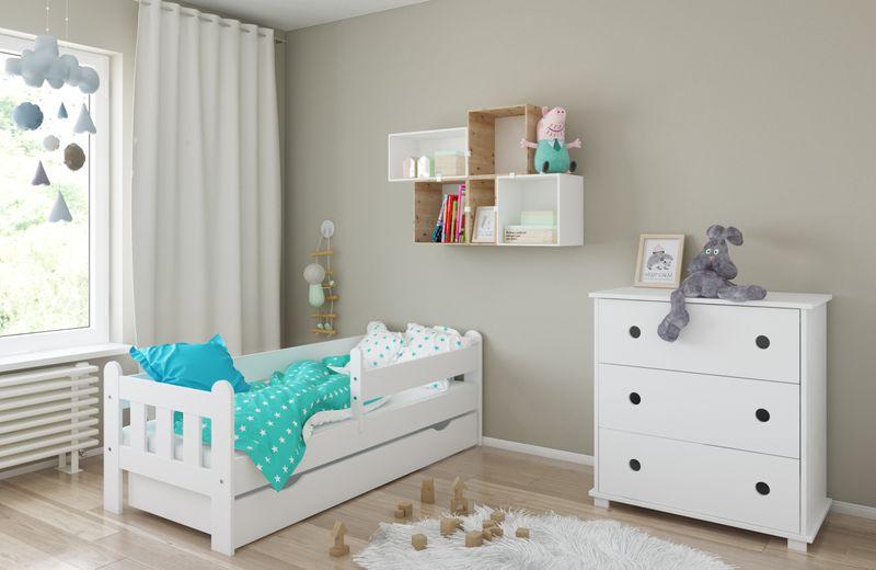 Łóżko STAŚ 140 x 70 z szufladą + barierka ochronna + MATERAC GRATIS zdjęcie 5