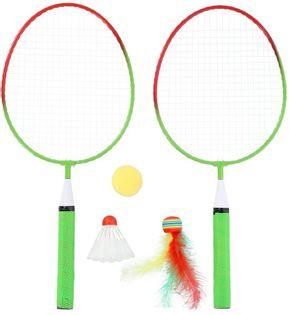 Zestaw rakietek do badmintona 2 sztuki + lotki + piłeczki junior Nils NRZ051 steel
