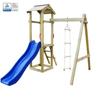 Lumarko Plac zabaw, zjeżdżalnia i drabinki, drewno, 237x168x218 cm!