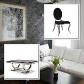 Jadalnia glamour Medaglione Nero - blat kamienny - 180 x 90 x 75; 4
