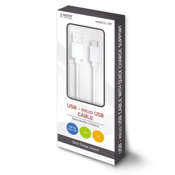 Elmak Kabel USB - micro USB Quick Charge, 5A, 1m SAVIO CL-127 zdjęcie 1