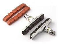Klocki hamulcowe CLARK'S CP513 MTB (XTR V-brake, Warunki Suche i Mokre, Obudowa aluminiowa) 70mm czarne + 2x wkładki czerwone