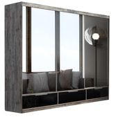 Szafa MADRYT 268 z szufladami Sosna bielona + 3 x lustro