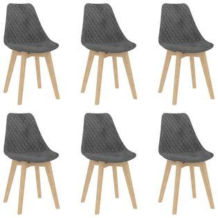 Lumarko Krzesła stołowe, 6 szt., szare, aksamitne