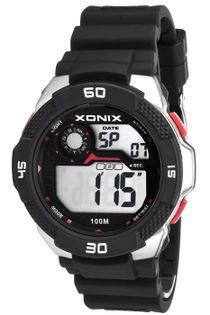 Xonix Duży męski zegarek, timer, alarm, 2 x czas, podświetlenie, WR 100M, antyalergiczny