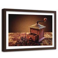 Obraz w ramie brązowej, Młynek do kawy 120x80