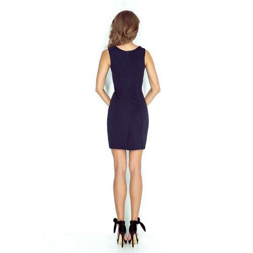 Elegancka sukienka z klamerką - GRANATOWA L zdjęcie 2