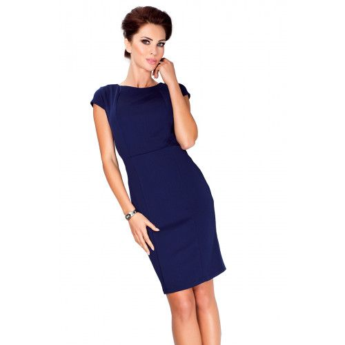Elegancka sukienka z krótkim rękawkiem - Granatowa S zdjęcie 4