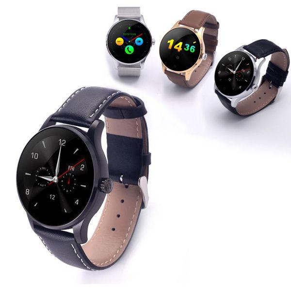Smartwatch zegarek bluetooth pulsometr K88H skórzany srebrny złoty na Arena.pl