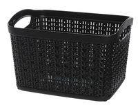 Koszyk kosz prostokątny organizer WILLOW 3,3 l czarny ażurowy sweterkowy wzór