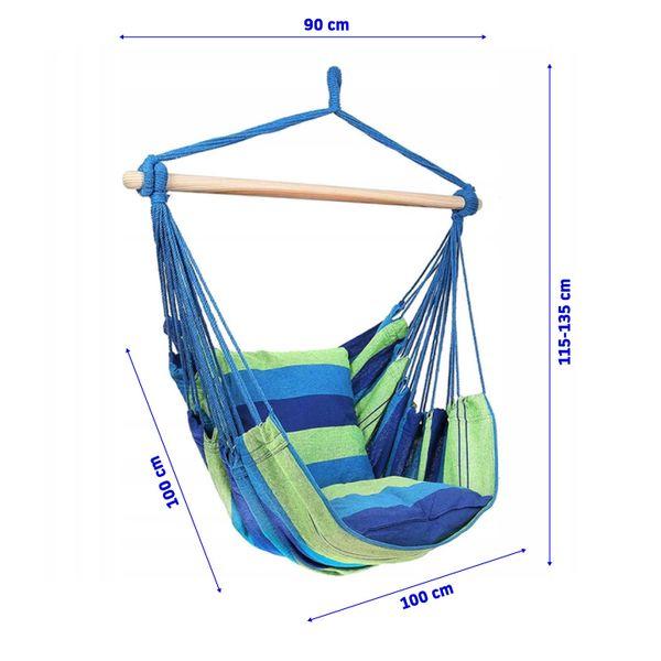 Krzesło brazylijskie wiszące Hamak z poduszkami zdjęcie 9
