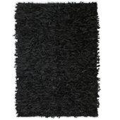 Dywan shaggy, prawdziwa skóra, 120x170 cm, czarny