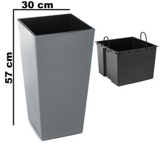 Doniczka wysoka z wkładem połysk Szary H 570 mm