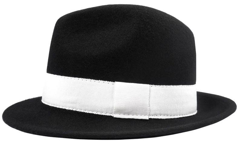ae9902753 ... 1 Czarny kapelusz męski z białym paskiem G5 Rozmiar kapelusza/cylindra  - 56 zdjęcie 2