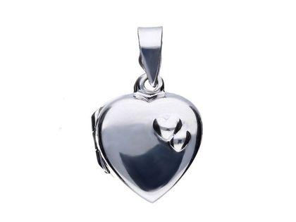 Delikatny srebrny otwierany wisiorek puzderko sekretnik gładkie serce srebro 925 ALP008
