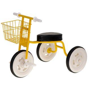 Rowerek Trójkołowy Retro Z Koszykiem Żółty
