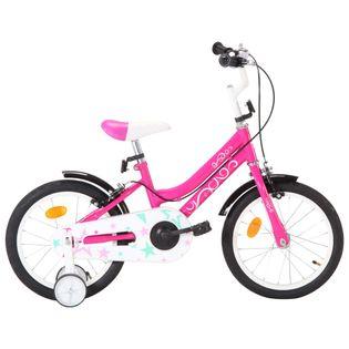 Rower dla dzieci, 16 cali, czarno-różowy