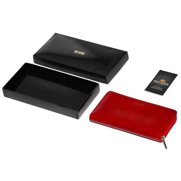Czerwony damski portfel skóra naturalna BELVEDER w pudełku zdjęcie 8