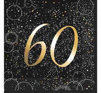 Serwetki na 60 -te Urodziny czarne, cyfry złote