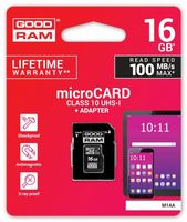 Karta pamięci GOODRAM microSDHC 16GB CL10 M1AA-0160R12