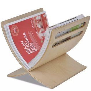 Drewniany stojak na gazety w naturalnym kolorze