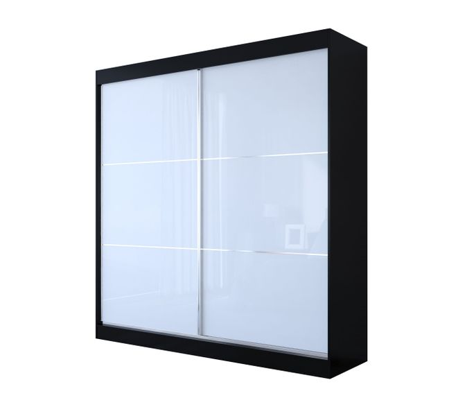 Szafa przesuwna VINET 200 cm biała/czarna w połysku zdjęcie 8