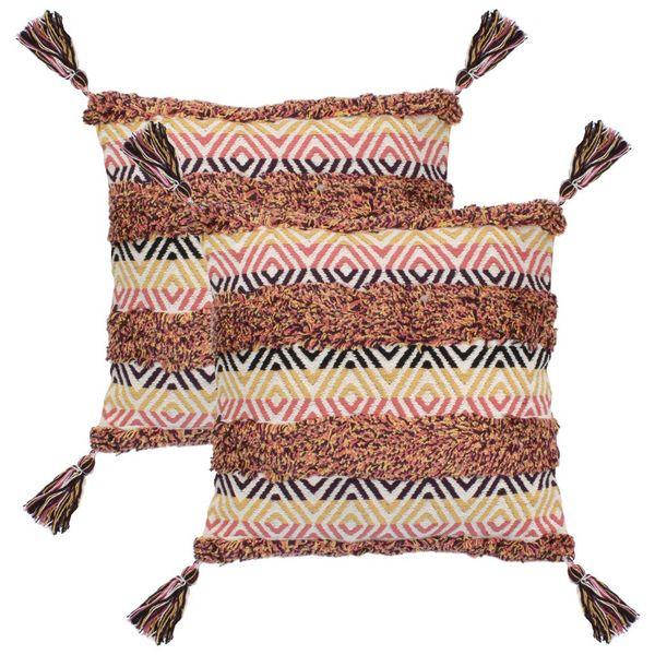 2 poduszki, 45x45 cm, styl boho, wielokolorowe zdjęcie 1