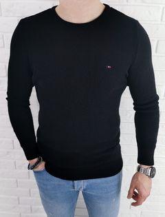 Czarny pleciony sweter męski znaczek 3210 Black - XXL