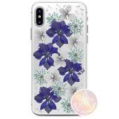 PURO Glam Hippie Chic Cover - Etui iPhone Xs / X (prawdziwe płatki kwiatów chabrowe)