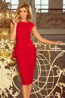 Dopasowana sukienka z asymetryczną baskinką - Czerwony L
