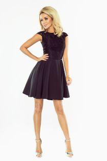 Sukienka z koronkową górą i gładkim delikatnie rozkloszowanym dołem - Czarny XL