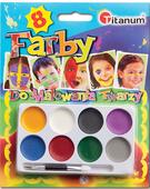 Zestaw 8 farb do twarzy farby do malowania ciała +pędzelek