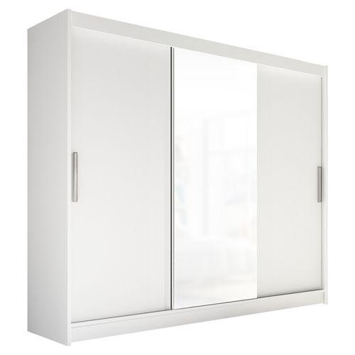 Szafa przesuwna Aston I z lustrem 250cm - pojemna garderoba - BIAŁY na Arena.pl