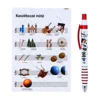 Zestaw notes + czerwony długopis folk - kaszubskie nuty