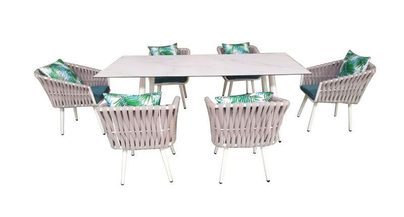 Ekskluzywny aluminiowy zestaw mebli obiadowych 6 osób zdjęcie 1