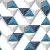 Tapeta TRÓJKĄTY Biało Niebiesko Szara Efekt 3D L57501 Ugepa