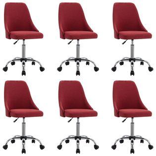 Lumarko Krzesła stołowe, 6 szt., winna czerwień, tapicerowane tkaniną
