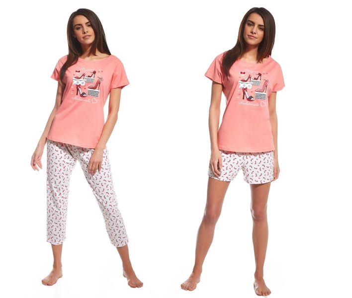 d1d652a3b7b045 piżama damska CORNETTE 665/98 RED SHOES 3 częściowa bawełna krótka / M  zdjęcie 1