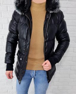 Czarna ocieplana zimowa meska kurtka kaptur premium - XL