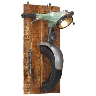Lumarko Lampa ścienna stylizowana na skuter, żelazo i lite drewno mango!