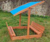 Piaskownica z regulowanym daszkiem i ławeczkami 150x150 - zmontowana