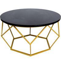 Stolik kawowy geometryczny Diament w kolorze złoto-czarnym, śr. 70 cm