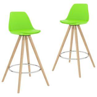 Stołki barowe, 2 szt., zielone, PP i lite drewno bukowe
