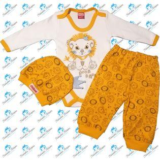 NOWY Komplet niemowlęcy body spodenki czapeczka N043 LEW ŻÓŁTY 68