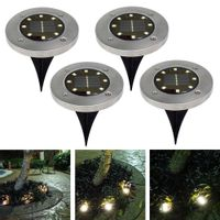 LAMPKI SOLARNE DISK LIGHT GRUNTOWE OGRODOWE 4SZT