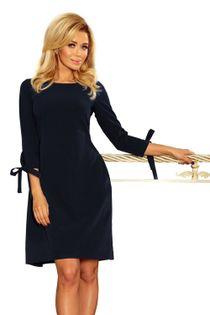 Pudełkowa monochromatyczna sukienka z wiązanym rękawem 3/4 i wiązaniem z tyłu - Granatowy L