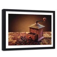 Obraz w ramie czarnej, Młynek do kawy 120x80