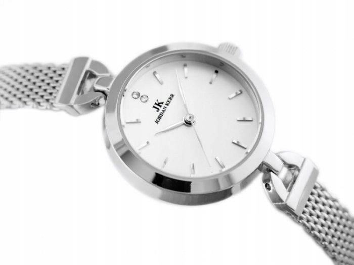 Srebrny zegarek damski bransoleta jordan kerr - pt zdjęcie 5