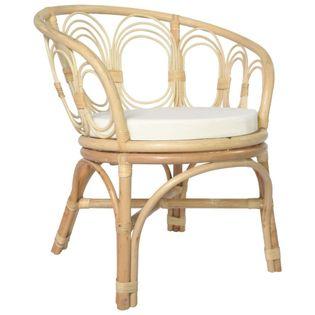 Lumarko Krzesło stołowe z poduszką, naturalny rattan i len!